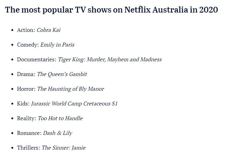 Netflix Australia reveals